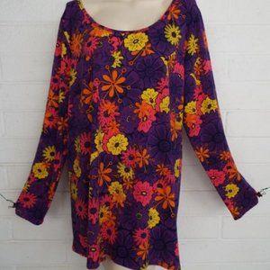 LulaRoe 3XL 60s floral purple Lynnae tunic op